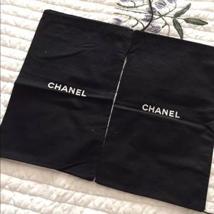 CHANEL two Black Cotton Shoes dust Bags